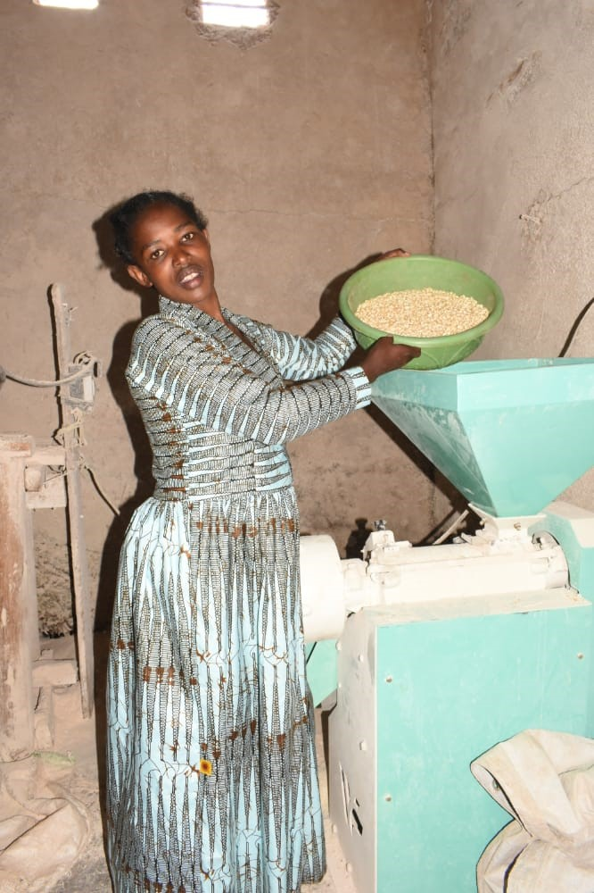 Mahoro Uwizeye owner of a milling business